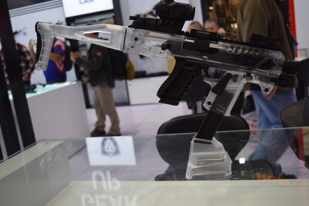 A polymer lower receiver at a Russian company's booth at SHOT Show 2018 in Las Vegas. (Photo: Daniel Terrill/Guns.com)