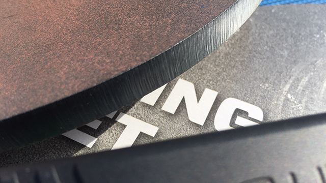 Detail of the precision-cut edge of the 8-inch round CTS target. (Photo: Eve Flannigan)
