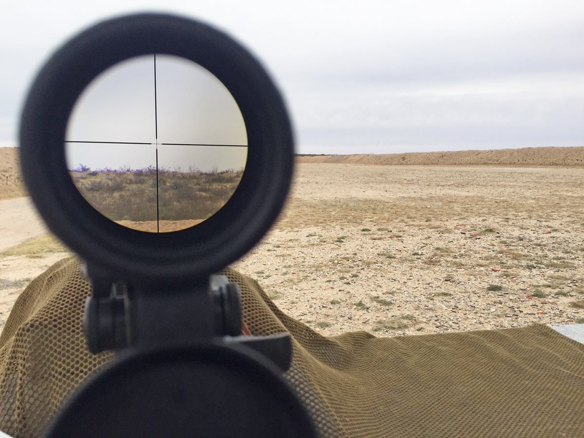 The SHV's plain crosshair reticle on the second focal plane proved a milling reticle isn't always a necessity at 500 yards. (Photo: Eve Flanigan/Guns.com)